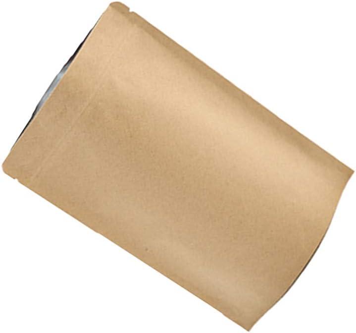 TOPBATHY 50Pcs Bolsas de Papel Kraft con Cierre Zip Reutilizable Bolsa con Muesca del Rasg/ón del Lacre para Guardar Galleta Alimentos Secados Aperitivos 9 x 3 x 14 cm