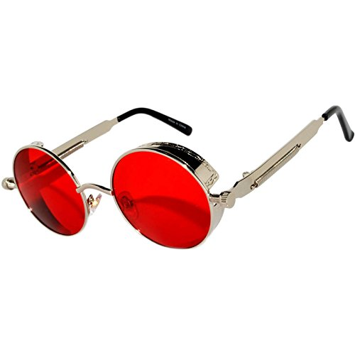 Steampunk Retro Gothic Vintage Hippie Silver Metal Round Circle Frame Sunglasses Sea Red Lens - Frame Sunglasses Round Red
