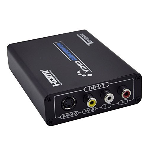 Tendak 3RCA AV CVBS Composite  &  S-Video R/L Audio to HDMI Converter Adapter Upscaler Support 720P/1080P with 3RCA S-Video Cable for DVD VCR PS2 PS3 Xbox HDTV