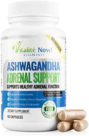 Best Adrenal Support - Ashwagandha, VIT C & B-6, L-Tyrosine, Ginseng, Licorice, Rhodiola Rosea, Holy Basil Leaf & More - Helps Fatigue, Stress, Anxiety,Cortisol, Energy, Calming - 60 Capsules