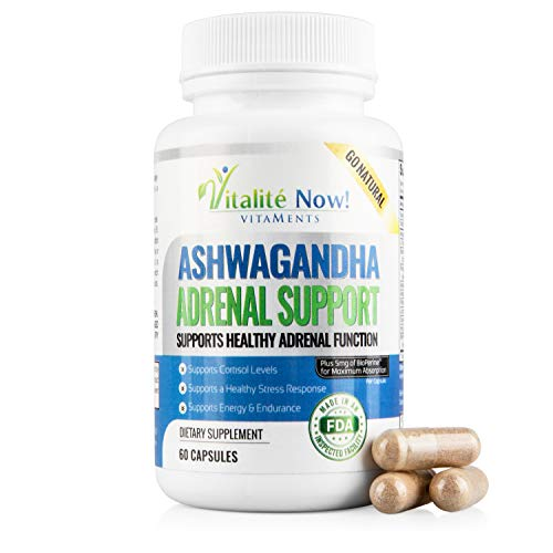 Ginseng Licorice - Best Adrenal Support - Ashwagandha, VIT C & B-6, L-Tyrosine, Ginseng, Licorice, Rhodiola Rosea, Holy Basil Leaf & More - Helps Fatigue, Stress, Anxiety,Cortisol, Energy, Calming - 60 Capsules