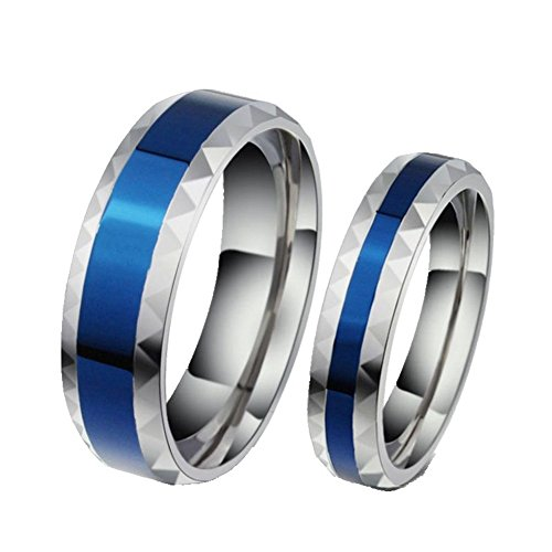 ROWAG Romantic Blue Plated 6MM Mens Titanium Stainless Steel Couple Wedding Bands for Him and Her 4MM Womens Promise Engagement Rings,Men Size 10 by Wang Rong