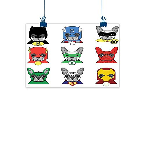 Home Wall Decorations Art Decor Superhero,Bulldog Superheroes Fun Cartoon Puppies in Disguise Costume Dogs with Masks Print,Multicolor for Boys Room Baby Nursery Wall Decor Kids Room Boys Gift 24