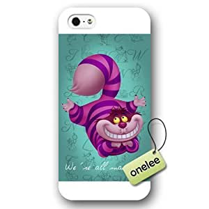 Disney Cartoon Movie Alice in Wonderland We're all mad here Cheshire cat Frosted Phone Case & Cover for iPhone 5/5s - White