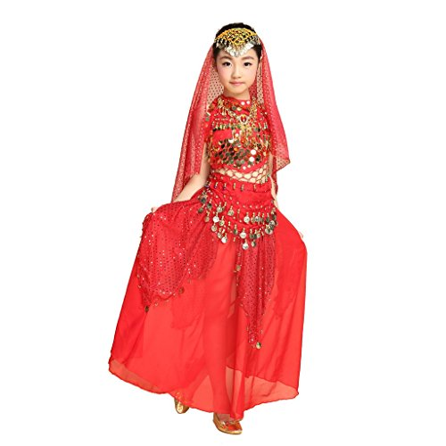 [Pilot-trade Children Belly Dance Costume , Highlights Skirt , Hip Scarf , Veil Sets ( Red , M)] (Child Dance Costume)
