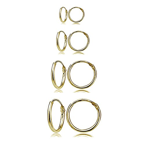 4 Pair Set Yellow Gold Flash Sterling Silver 10mm, 12mm, 14 & 16mm Tiny Small Lightweight Thin Round Continuous Endless Unisex Hoop Earrings by Hoops 4 Less