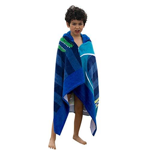 2019 3-8 Years Kids Childrens Cartoon Hooded Swimming Beach Bath Towel Thicken Soft Cloak (3-8 Years, -