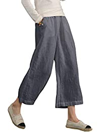 Womens Casual Loose Plus Size Elastic Waist Cotton Trouser Cropped Wide Leg Pants
