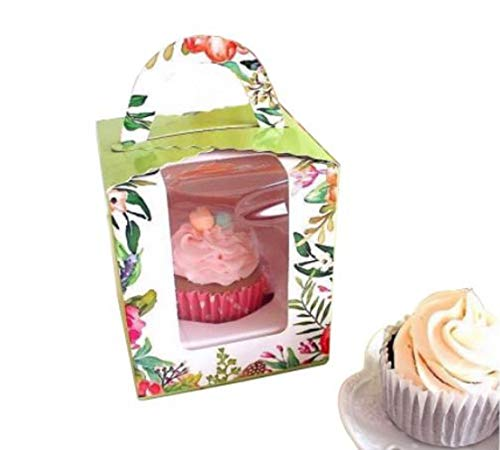 Clear Bakery Pastry Food Grade Flower Garden Design Cardboard Single Cupcake Boxes With Window And Handle Wholesale(50)