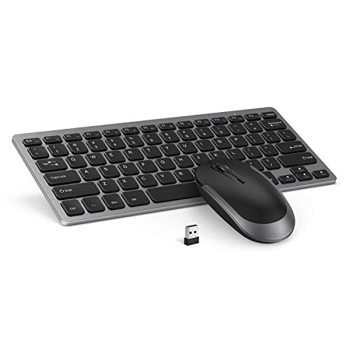 Wireless Keyboard Mouse, Jelly Comb 2.4GHz Ultra Thin Compact Portable Small Wireless Keyboard and Mouse Combo Set for PC, Desktop, Computer, Notebook, Laptop, Windows - Black and Gray