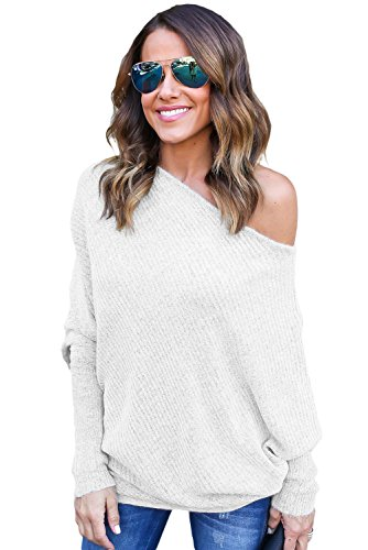 OUR WINGS Women Sexy White Off Shoulder Bat Long Sleeves Loose Fit Sweater S
