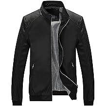 Tanming Men's Color Block Slim Casual Thin Lightweight Varsity Jackets