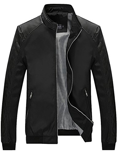 Tanming Men's Color Block Slim Casual Thin Lightweight Jacket (Large, Black)