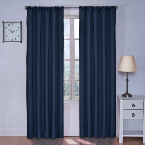 (Eclipse Kids Kendall Blackout Thermal Curtain Panel,Denim, 42 Inch X 63 Inch)