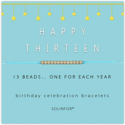 SOLINFOR 13th Birthday Gifts for Girls - 14K Gold Filled Beads on Adjustable 8