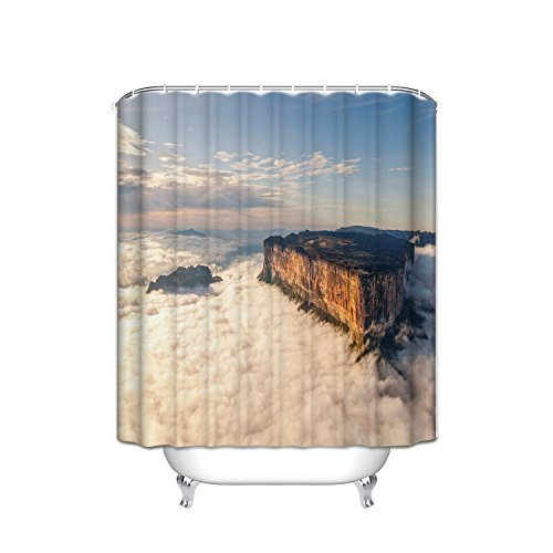 - Bathroom Shower Curtain Waterproof Fabric, Strange Mountain Peak Pattern Above The Sunrise Clouds (Hotel Quality And Environmental Protection) Plastic Hook, Standard 72 X 84, White Brown