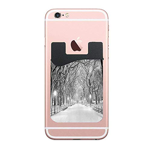 CardlyPhCardH View of Central Park in Winter Snowy Trees and The Walkway Digital Print Authentic Cell PhoneCard Holder Stick on Wallet Pouch for Apple iPhone 2 PCS