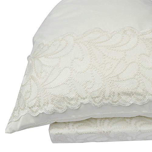 - ZIGGUO Luxury Embroidered King Size Pillowcase, Pack of 2 - Ivory Color