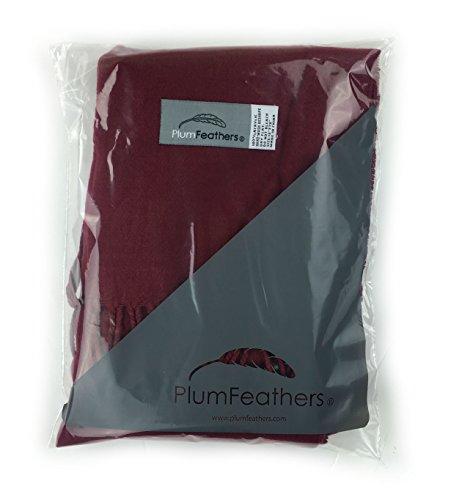 Plum Feathers Super Soft Luxurious Cashmere Winter Scarf (Burgundy)