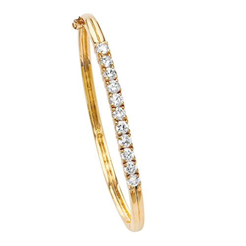 Cut Hinged Bangle Bracelet (18k Yellow Gold-Plated Hinged Bangle Bracelet 2.75 TCW Round Cubic Zirconia)