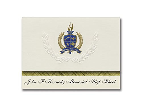 (Signature Announcements John F Kennedy Memorial High School (Mound Bayou, MS) Graduation Announcements, Presidential Elite Pack 25 with Gold & Blue Metallic Foil seal)