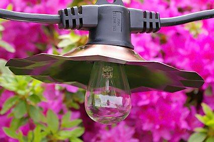 Café String Lights, S14 Edison Bulbs, 35 ft Black Wire, Copper Shades