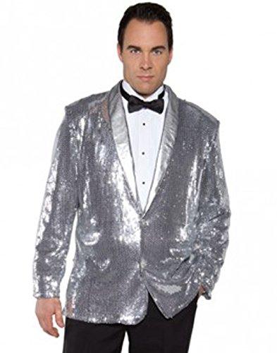 Underwraps Men's Sequin Jacket, Silver, One Size (Secret Agent Tuxedo Adult Mens Costume)