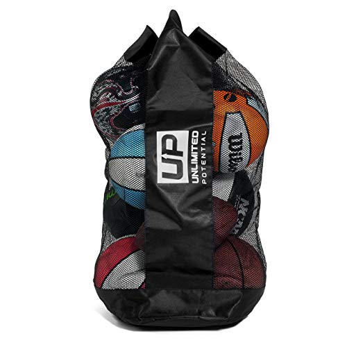 Mesh Equipment Bag - Adjustable, sliding drawstring cord closure. Perfect mesh bag for parent or coach, making it easy to transport and keeping your sporting gear organized (Large 12-16 Balls) (Volleyball Equipment Bag)