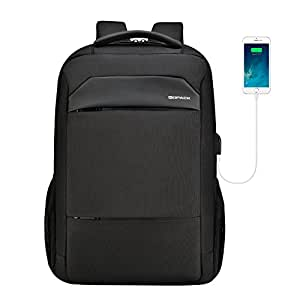 kopack Slim Laptop Backpack USB Charging Waterproof Zipper Computer Backpack Black Travel Bag for Business College (17IN)