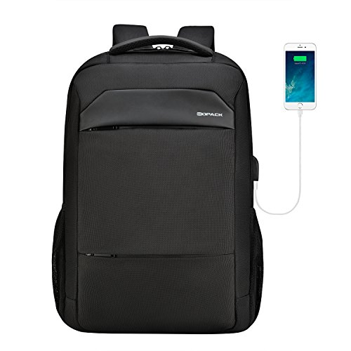 kopack Slim Laptop Backpack 17 Inch Waterproof Zipper Computer Backpack Black Travel Bag for Business College with USB Port - Tech Leather Backpack