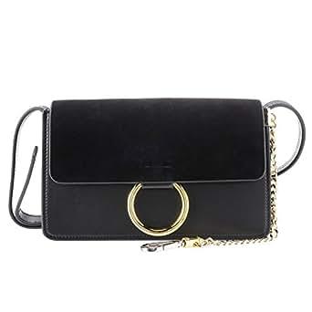 QZUnique Women's Cowhide Genuine Split Leather Fashion Vintage Style Cross Body Shoulder Bag Black