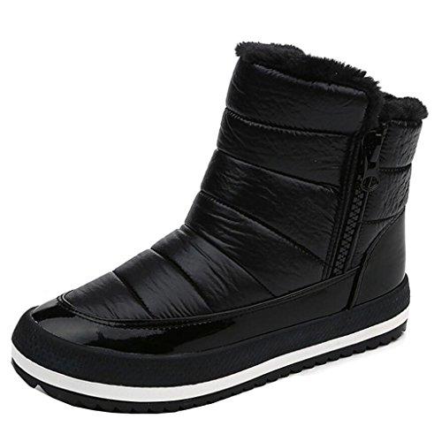 Zip Snow Platform Flat Women's Black Fur Binying Round Toe Boots RFXOwq