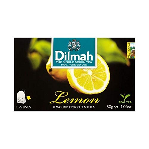 Dilmah Lemon Flavored Black Tea 20 Tea Bags X 3 Packs- Pure Ceylon Black Tea with Flavor of Real Lemon by Dilmah