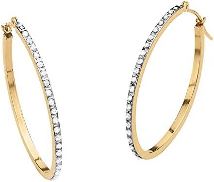White Diamond Accent 14k Yellow Gold Diamond Fascination Hoop Earrings (32mm)