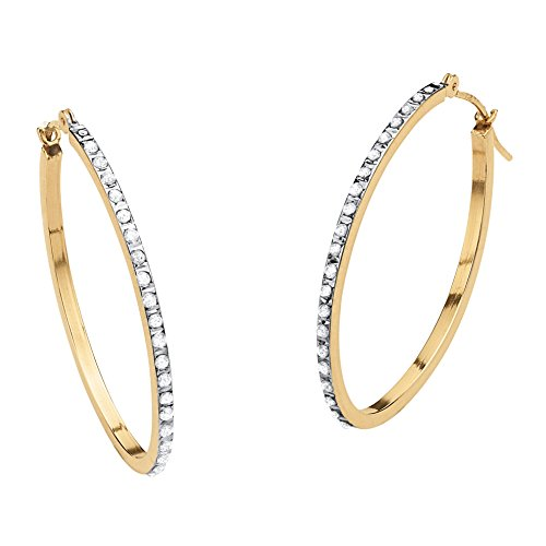 - White Diamond Accent 14k Yellow Gold Diamond Fascination Hoop Earrings (32mm)