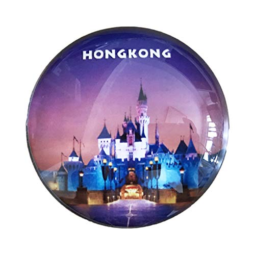 3D Hong Kong Disneyland Refrigerator Fridge Magnet Crystal Glass Magnet Handmade Tourist Travel Souvenir Collection Gift Whiteboard Magnetic Sticker Home Decoration