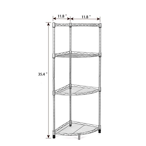 Homfa 4 Tire Wire Corner Storage Shelves Free Standing