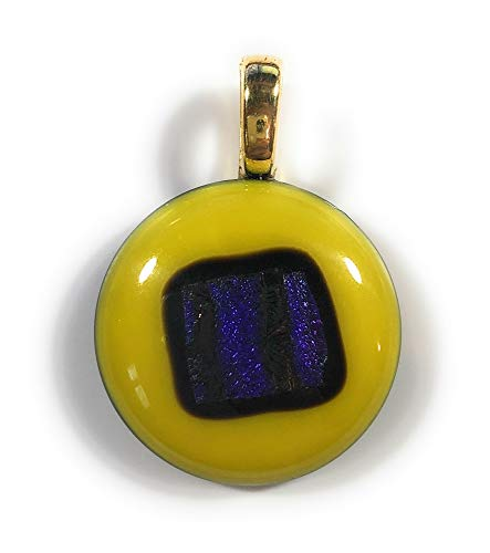 Purple Fused Dichroic Glass - The Silver Sun Collections carlkennedyDESIGNS Alex Box Fused dichroic Glass Pendant with 20