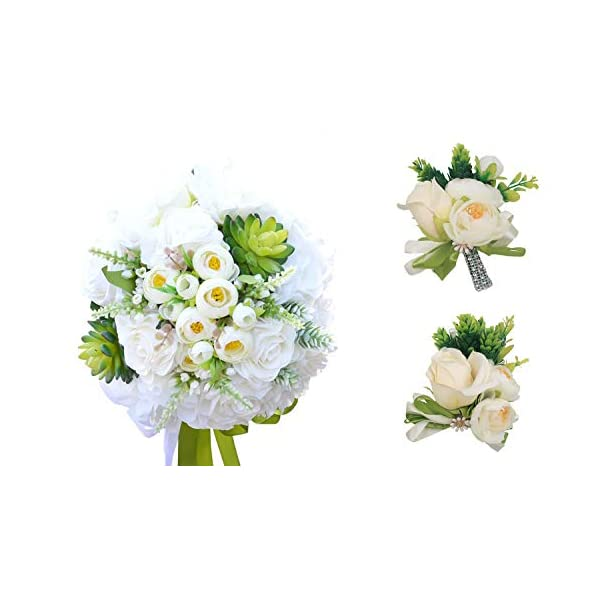 Abbie Home Set of 5 Wedding Bouquet Brooch Pin Wrist Corsage Real Touch Peony Rose Succulents Flowers (Z Set of 5)