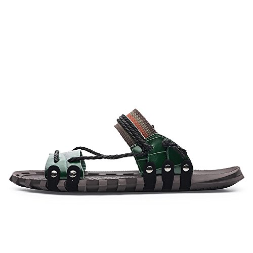 Slippers,Open Slip Rope Ruiyue Sandals Shoes Toe Leather Green Casual Soft Flat Beach Men for Non Hemp Genuine qBpgUTw