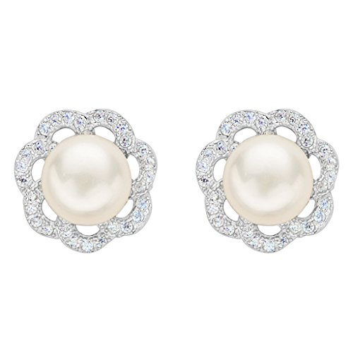 [EleQueen 925 Sterling Silver CZ 8mm AAA Button Cream Freshwater Cultured Pearl Flower Bridal Stud] (Difference Between Fashion Jewellery And Costume Jewellery)