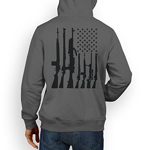 Mens Big Big American Flag With Machine Guns Hoodie Sweatshirt (XL, Charcoal)