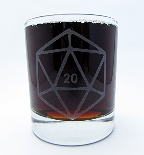 Gamer Dice | Etched Glassware Set of Six (Old Fashioned, Pints) by Monster Dance Designs