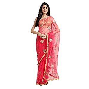 Womanista Women's net with Blouse Piece 7510 Sarees (FS9928_Pink_OneSize)