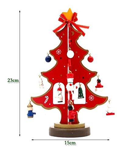 Christmas Ornament Wooden Christmas Tree Desktop Decoration Trumpet (red)