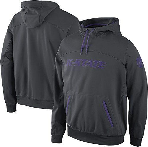 - NIKE Kansas State Wildcats Elite Therma-Fit Pullover Basketball Hoodie (Medium, Anthracite)