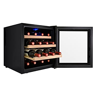 AKDY 16 Bottle Single Zone Thermoelectric Freestanding Wine Cooler Cellar Chiller Refrigerator Fridge Quiet Operation
