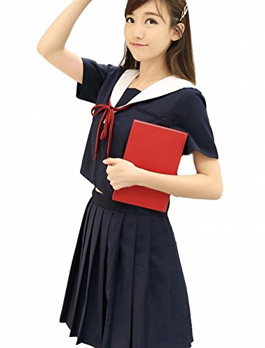 POJ Formal Japanese High School Girls Uniform [ L / XL Size Navy Blue ] Short Sleeve (XL, Navy (Cosplay Store Near Me)