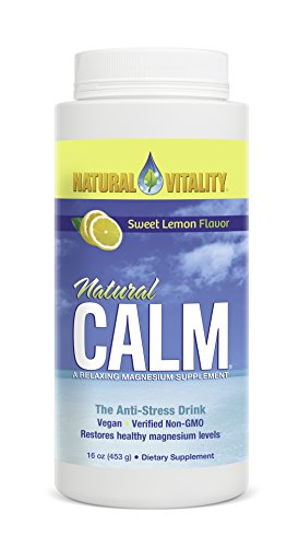 Natural Vitality Natural Calm Drink - 16 Oz. Lemon Drink, Organic Stress Relief Drink, Vegan Formula. Magnesium - Natural Lemon