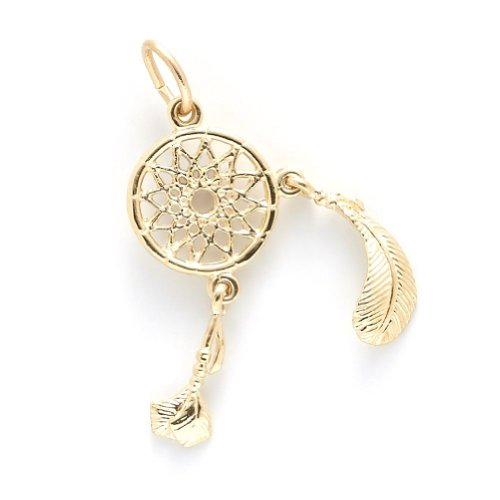 10k Yellow Gold Dreamcatcher Charm, Charms for Bracelets and Necklaces